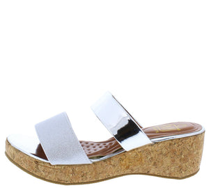 34f56746c6f Glam3 Silver Mirror Dual Strap Open Toe Mule Cork Wedge - Wholesale Fashion  Shoes