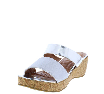 Glam3 Silver Mirror Dual Strap Open Toe Mule Cork Wedge - Wholesale Fashion Shoes