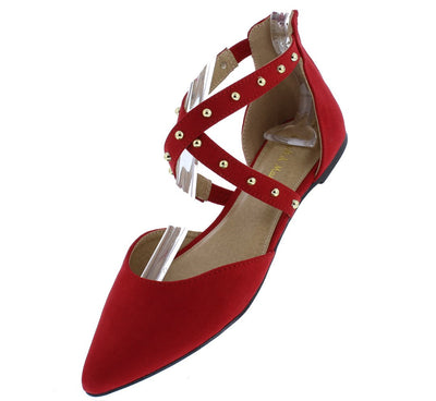Glenn08 Red Suede Fabric Studded Cross Strap Dorsay Flat - Wholesale Fashion Shoes