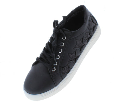 Grandslam08s Black Star Lace Up Sneaker Flat - Wholesale Fashion Shoes