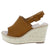 Grass603 Camel Peep Toe Slingback Tall Espadrille Wedge