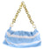 Irene295 Baby Blue Striped Gold Chain Handbag