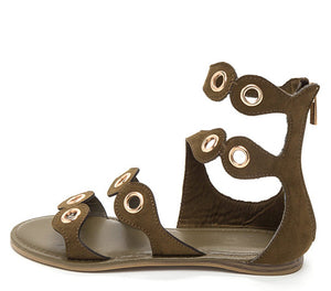 afbeedcdb6514 Happiness29m Olive Open Toe Multi Grommet Strap Sandal - Wholesale Fashion  Shoes