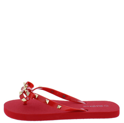 Heaven01 Red Studded Bow Thong Slide Sandal - Wholesale Fashion Shoes