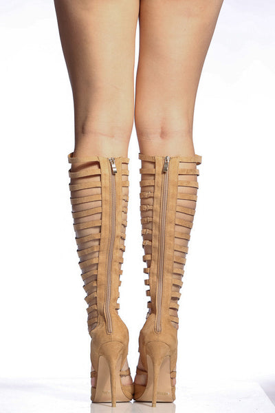 Heaven1 Camel Pointed Toe Multi Cut Out Knee High Boot - Wholesale Fashion Shoes