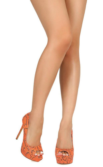 Maria145 Orange Pointed Peep Toe Platform Stiletto Heel - Wholesale Fashion Shoes