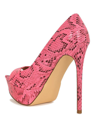 Maria145 Pink Pointed Peep Toe Platform Stiletto Heel - Wholesale Fashion Shoes