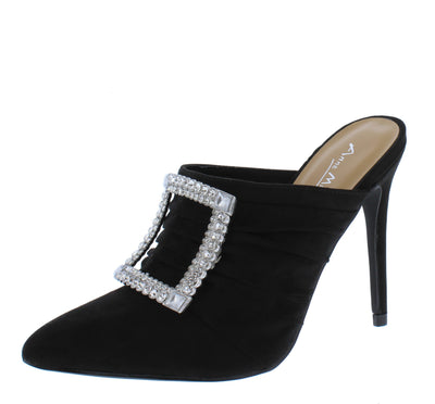 Hibiscus45 Black Rhinestone Buckle Pointed Toe Mule Heel - Wholesale Fashion Shoes