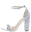 Hoco Silver Patent Sparkle Open Toe Ankle Strap Block Heel - Wholesale Fashion Shoes