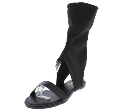 Honey39 Black Open Toe Cut Out Ankle Sock Fit Sandal - Wholesale Fashion Shoes