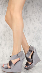 VANESSA GREY VELVET OPEN TOE CRISSCROSSING PLATFORM WEDGE - Wholesale Fashion Shoes - 2