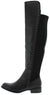 Honor65 Black Pu Stud Shaft Over The Knee Boot
