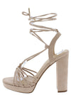 Hoover Camel Suede Open Toe Strappy Ankle Wrap Heel - Wholesale Fashion Shoes