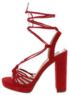 Hoover Red Suede Open Toe Strappy Ankle Wrap Heel - Wholesale Fashion Shoes