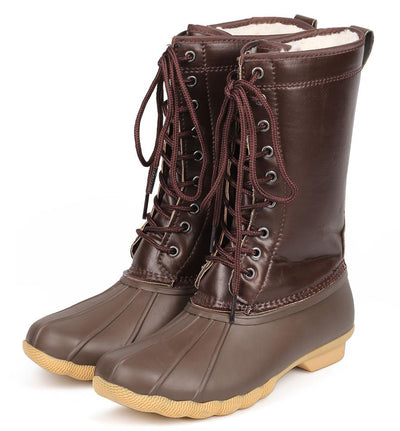 Hunter03 Brown Faux Fur Lined Lace Up Snow Boot - Wholesale Fashion Shoes