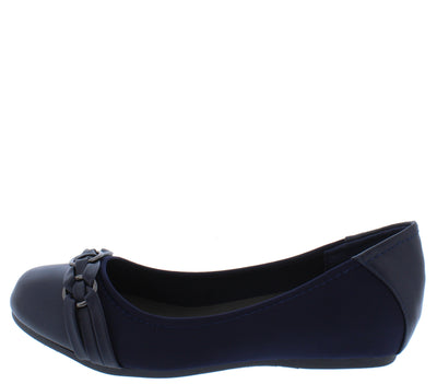 Inside3 Navy Multi Ring Round Toe Ballet Flat - Wholesale Fashion Shoes