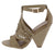 Involve06m Light Taupe Distressed Peep Toe Laser Cut Ankle Strap Angled Heel