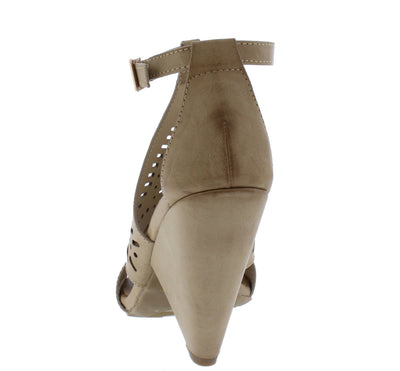 Involve06m Light Taupe Distressed Peep Toe Laser Cut Ankle Strap Angled Heel - Wholesale Fashion Shoes
