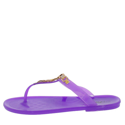 Jelly67 Purple Rhinestone Chain Jelly Sandal - Wholesale Fashion Shoes