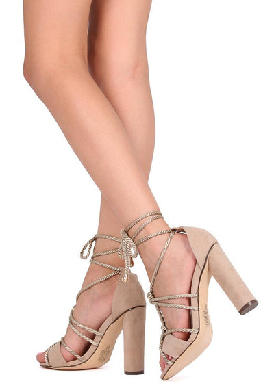 Jj15 Nude Rope Ankle Wrap Strappy Heel - Wholesale Fashion Shoes
