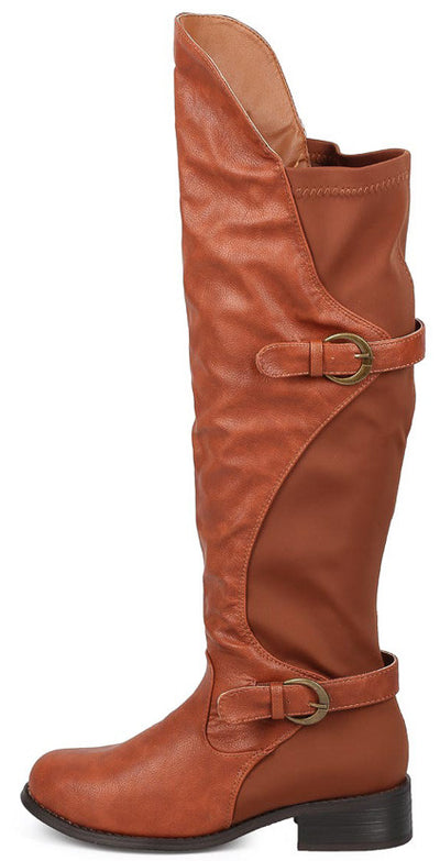 Cristy Cognac High-low Slight Stretch Dual Strap Knee High Boot - Wholesale Fashion Shoes