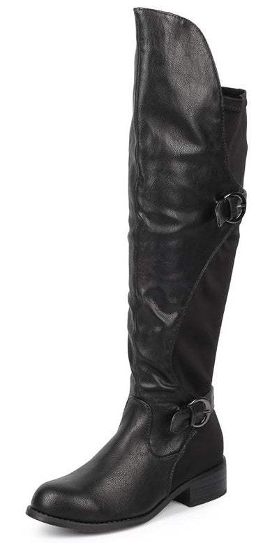 Cristy Black High-low Slight Stretch Dual Strap Knee High Boot - Wholesale Fashion Shoes