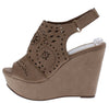 Kama01 Taupe Peep Toe Laser Cut Slingback Platform Wedge - Wholesale Fashion Shoes