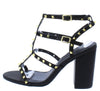 Jayleene057 Black Stud Caged Open Toe Chunky Heel - Wholesale Fashion Shoes