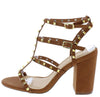 Jayleene057 Cognac Stud Caged Open Toe Chunky Heel - Wholesale Fashion Shoes