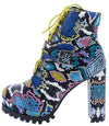 Karlie08 Snake Multi Lace Up Lug Sole Block Heel Boot - Wholesale Fashion Shoes