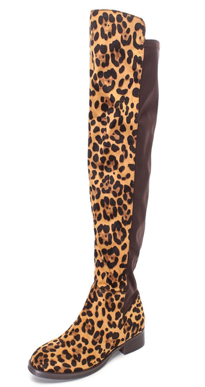 Katia Leopard Over the Knee Riding Boot - Wholesale Fashion Shoes
