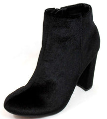 ALYSSA2 BLACK ALMOND TOE VELVET CHUNKY HEEL ANKLE BOOT - Wholesale Fashion Shoes