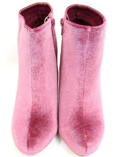 Alyssa2 Mauve Almond Toe Velvet Chunky Heel Ankle Boot - Wholesale Fashion Shoes