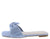 Kick58 Baby Blue Square Open Toe Bow Flat Slide Sandal
