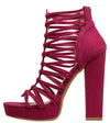 Kimball Fuchsia Strappy Open Toe Tapered Block Heel - Wholesale Fashion Shoes