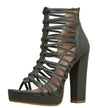 Kimball Olive Strappy Open Toe Tapered Block Heel - Wholesale Fashion Shoes