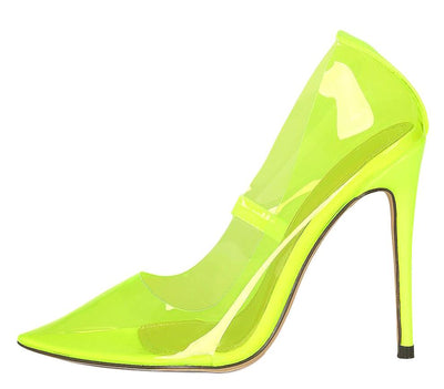 Sophie252 Neon Lime Clear Lucite Pointed Toe Stiletto Heel - Wholesale Fashion Shoes