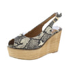 Kite01 Snake Peep Toe Slingback Platform Wood Wedge - Wholesale Fashion Shoes