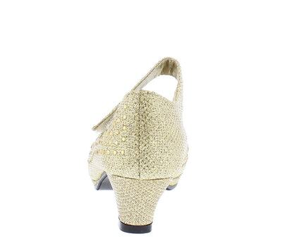 Luna247 Light Gold Glitter Mary Jane Kids Low Heel - Wholesale Fashion Shoes