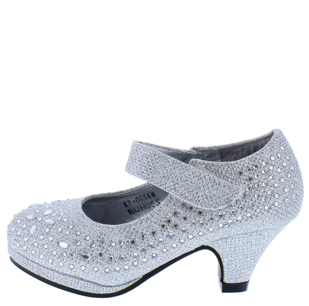 a951c43b84 Luna247 Silver Glitter Mary Jane Kids Low Heel