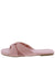 Laughter10 Pink Gathered Cross Strap Open Toe Slide Sandal