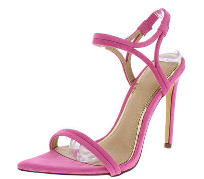 Ella034 Pink Pointed Open Toe Ankle Strap Stiletto Heel - Wholesale Fashion Shoes