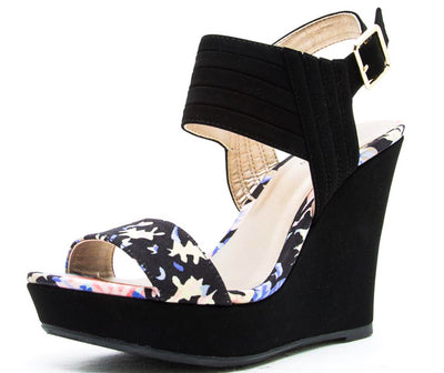 Lena549 Black Multi Floral Ankle Strap Wedge - Wholesale Fashion Shoes