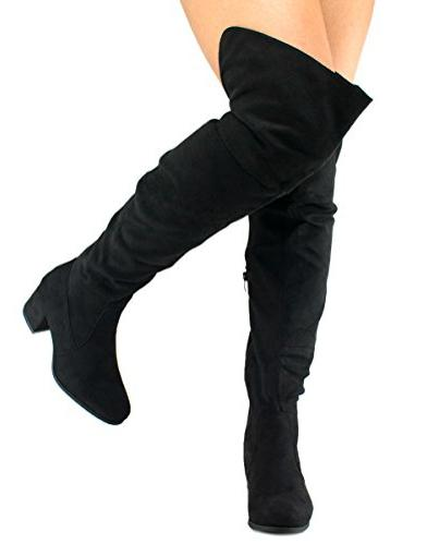 Linden010k Black Suede Over The Knee Boot - Wholesale Fashion Shoes