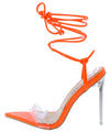 Luniah Orange Crocodile Pointed Open Toe Ankle Wrap Heel - Wholesale Fashion Shoes