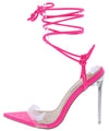 Luniah Pink Crocodile Pointed Open Toe Ankle Wrap Heel - Wholesale Fashion Shoes