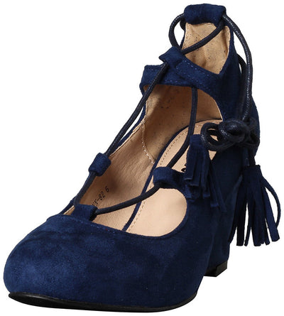 Lynn82 Navy Almond Toe Lace Up Tassel Wedge - Wholesale Fashion Shoes