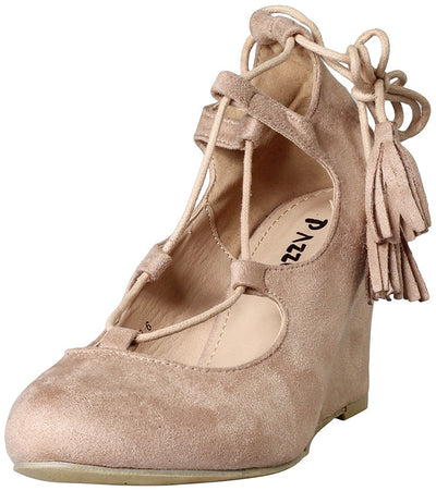 Lynn82 Nude Almond Toe Lace Up Tassel Wedge - Wholesale Fashion Shoes