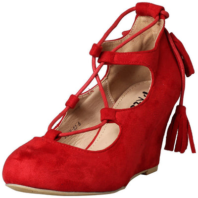 Lynn82 Red Almond Toe Lace Up Tassel Wedge - Wholesale Fashion Shoes