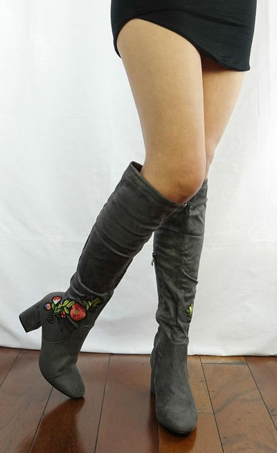 M313 Grey Floral Embroidered Slouchy Knee High Boot - Wholesale Fashion Shoes